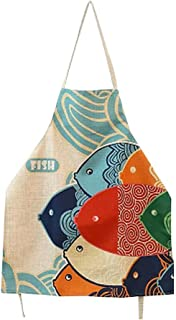 Phantomon Aprons for Women Cotton Apron Cartoon Japanese Style Lovely Fish Print Chef Kitchen Cooking Funny Aprons
