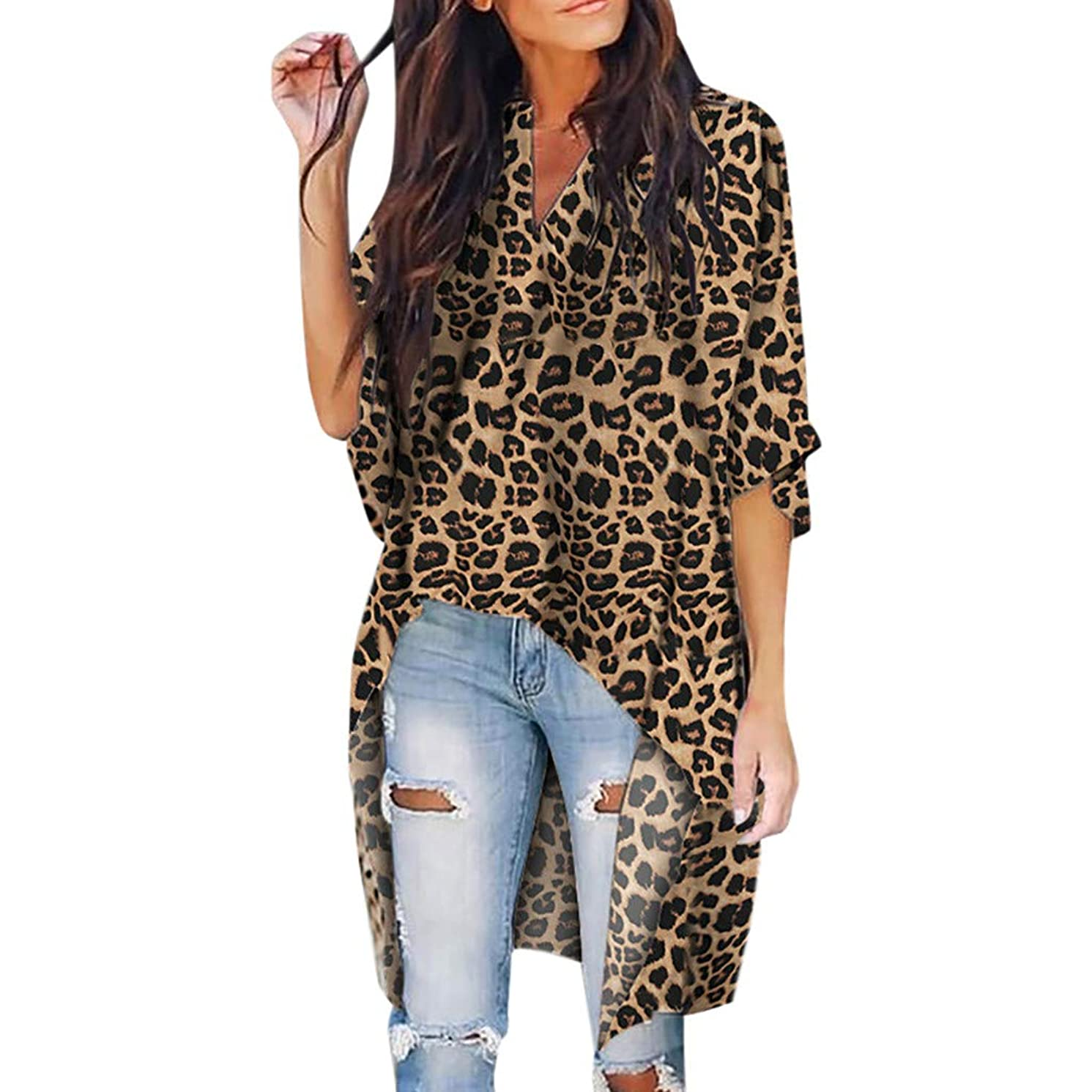 Women Leopard Loose Top, Lady V-Neck Irregular Short Sleeve T-Shirt Casual Batwing Sleeve Outdoor Blouses (XL, Brown)