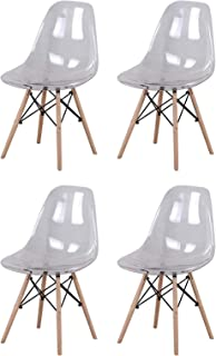 12345678 - Silla de comedor de estilo nórdico con asiento acrílico transparente y patas de madera para cocina, salón, oficina, salón, recepción, sala de espera, 4 unidades, color blanco