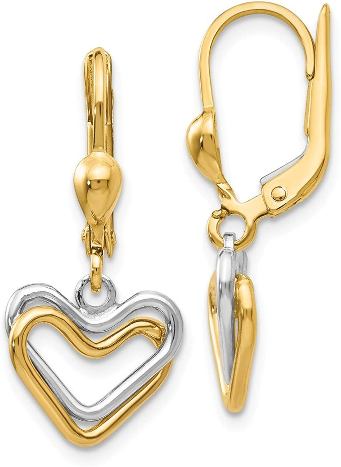 Beautiful White and yellow gold 14K Whiteandyellowgold 14k Twotone Heart Leverback Dan