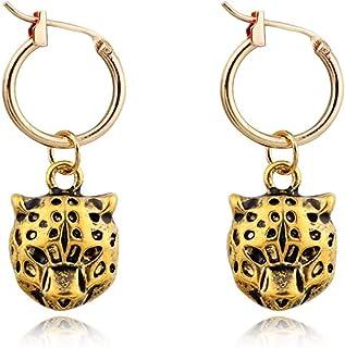 XCFS 3D Medieval Antique Gold Leopard Charm Tassel Earring Brass Bronze Colored Renaissance Leo Pard Head Dangle Earring