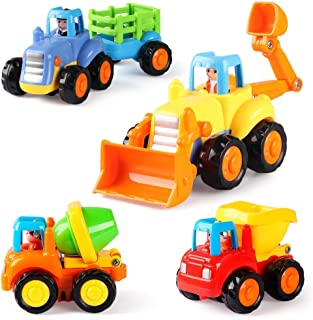 Coogam 4 Pack Friction Powered Cars Construction Vehicles Toy Set Cartoon Push and Go Car..
