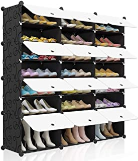 Best KOUSI Portable Shoe Rack Organizer 48 Pair Tower Shelf Storage Cabinet Stand Expandable for Heels, Boots, Slippers, 8 Tier Black Review