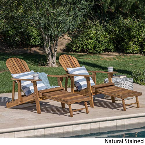 GDF Studio Halley Outdoor Reclining Wood Adirondack Chair with Footrest (2, Natural Stained)