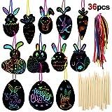 HOWAF 36 x Kit de Scratch Art Oeufs de Pâques décoration à Suspendre avec Corde Dessin Gratter pour Enfants Loisirs créatifs de Pâques et Cadeaux