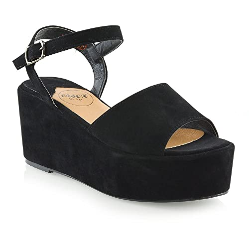 e0d657aa48 ESSEX GLAM Womens Platform Wedge Heel Sandals Ladies Chunky Sole Ankle  Strap Peep Toe Shoes Size