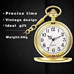 Smooth Vintage Steel Quartz Pocket Watch Classic Fob Pocket Watch with Short Chain for Men Women - Gift for Birthday Anniversary Day Christmas Fathers Day (Gold) #3