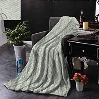SSKJTC Antique Fleece Throw Blanket Leaves Flower Aboriginal Dorm Bed Baby Cot Traveling Picnic W40 xL60