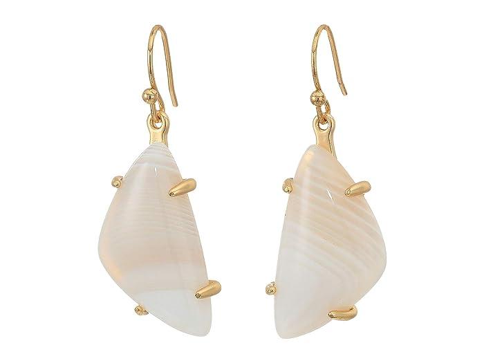 Lucky Brand  White Agate Stone Drop Earrings (Gold) Earring