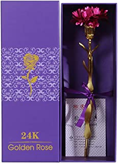 ALOVEMO folha dourada, flor de cravo com caixa de presente de embalagem presente