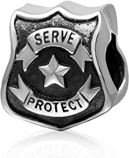 Hoobeads Protect Serve Police Officer Badge Authentic 925 Sterling Silver Charm Fits Europen Style Bracelets