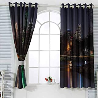 Apartment Decor Collection Room Darkening Curtains for Bedroom Dallas Skyline Reflected in a Lake City Park Trees Night Landscape Scene View Bedroom Decor Blackout Shades W107 x L96 Inch Navy Blue Gr