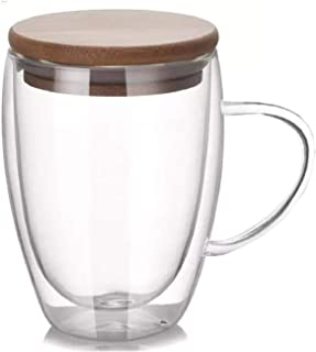 كوب زجاجي مزدوج للشاي والقهوة مع غطاء حافظ للحرارة