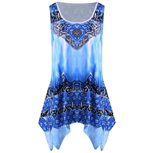 e7ec99281ba0 UONQD Woman Women O Neck Summer Tank Top Sleeveless Casual Loose Printed  Vest Plus Size