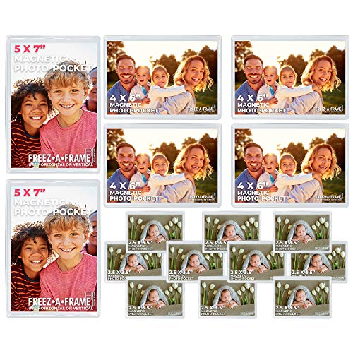 Freez A Frame Clear Magnetic Picture Frames For Refrigerator School Locker, or any Magnetic Surface 16 Pack Holds (2) 5 x 7 '(4) 4 x 6' (10) 2.5 x 3.5' Exclusive Photo Pockets