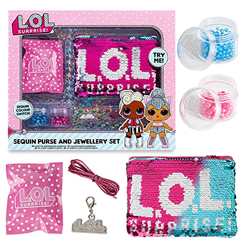 L.O.L. Sorpresa! Switch Kit per la creazione di Borsetta con Lustrini e Gioielli, Bambole L.O.L., Pop Diva Rocker MC Swag, Rosa