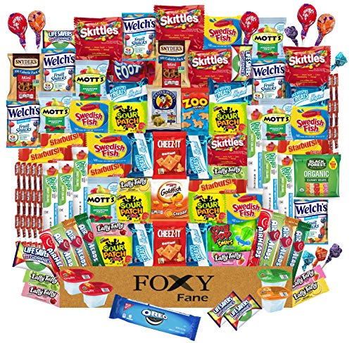 Foxy Fane 100 count Ultimate Snack Box - Gift Basket with Variety Assortment of Crackers, Cookies, Candy & Chips - Bulk Bundle of Tasty Treats for Kids, Teens & Children of all Ages (100 Snacks)