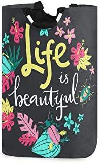 La vie est belle couronne de fleurs en bois porte-panier à linge étanche en bois, grand panier de sac à linge pliable pour...