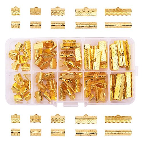 PandaHall Elite 100 Pcs Ribbon Clamp End Crimps Cord Ends with Loop 5 Sizes for Jewelry Making Golden