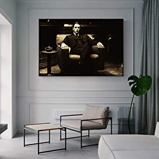 JYDFC Godfather Vintage Moive Wall Posters and Prints Black Black and White Godfather Canvas Art Paintings for Living Room 70x120cm