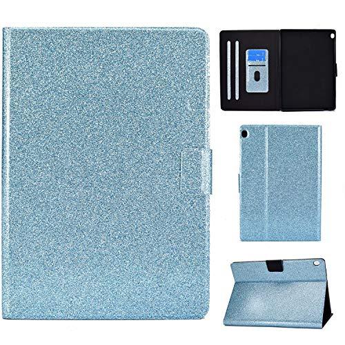 Nadoli PU Leder Glitzer Hülle für Lenovo Tab M10 (X605F) 10.1 Zoll,Full Body Brieftasche Slim Schutzhülle Magnetisch Flip Ständer Schale Smart Auto Schlaf/Wachen,Blau