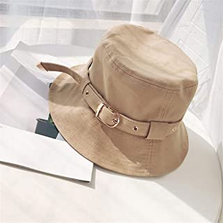 SHENTIANWEI Hat Female Summer Outdoor Tourism Belt Buckle Summer hot Style hat Sun hat Sun hat Amazon (Color : Khaki, Size : One Size)