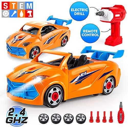 VATOS Autos Spielzeug Montage,Spielzeug auseinander nehmen,Bauen Sie Ihr eigenes ferngesteuertes Auto mit Schraubendreher und Bohrmaschine-Kinder Montage Spielzeug für 3 4 5 6 Jungen- STEM Spielzeug