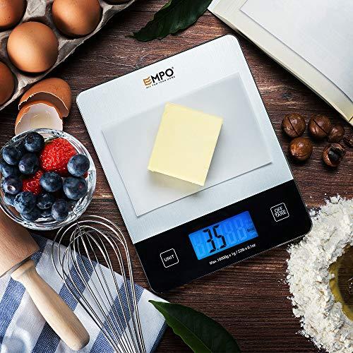 Nuova Bilancia Digitale Professionale da Cucina EMPO® Bilancia Alimentare in Vetro Temperato - Bilancia Elettronica da Cucina ad Alta Precisione con Ampio Display LCD e Funzione Tara