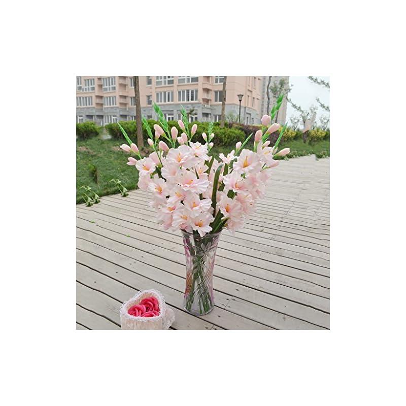 silk flower arrangements monkeyjack artificial plants & flowers wedding flower gladioli gladiolus stem 8 colors - light pink, 80cm