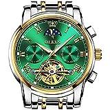 OLEVS Skeleton Automatic Mechanical Men Watches Green Stainless Steel Waterproof Luminous Moon Phase Date Luxury Dress Self-Wind Male Wrist Watch