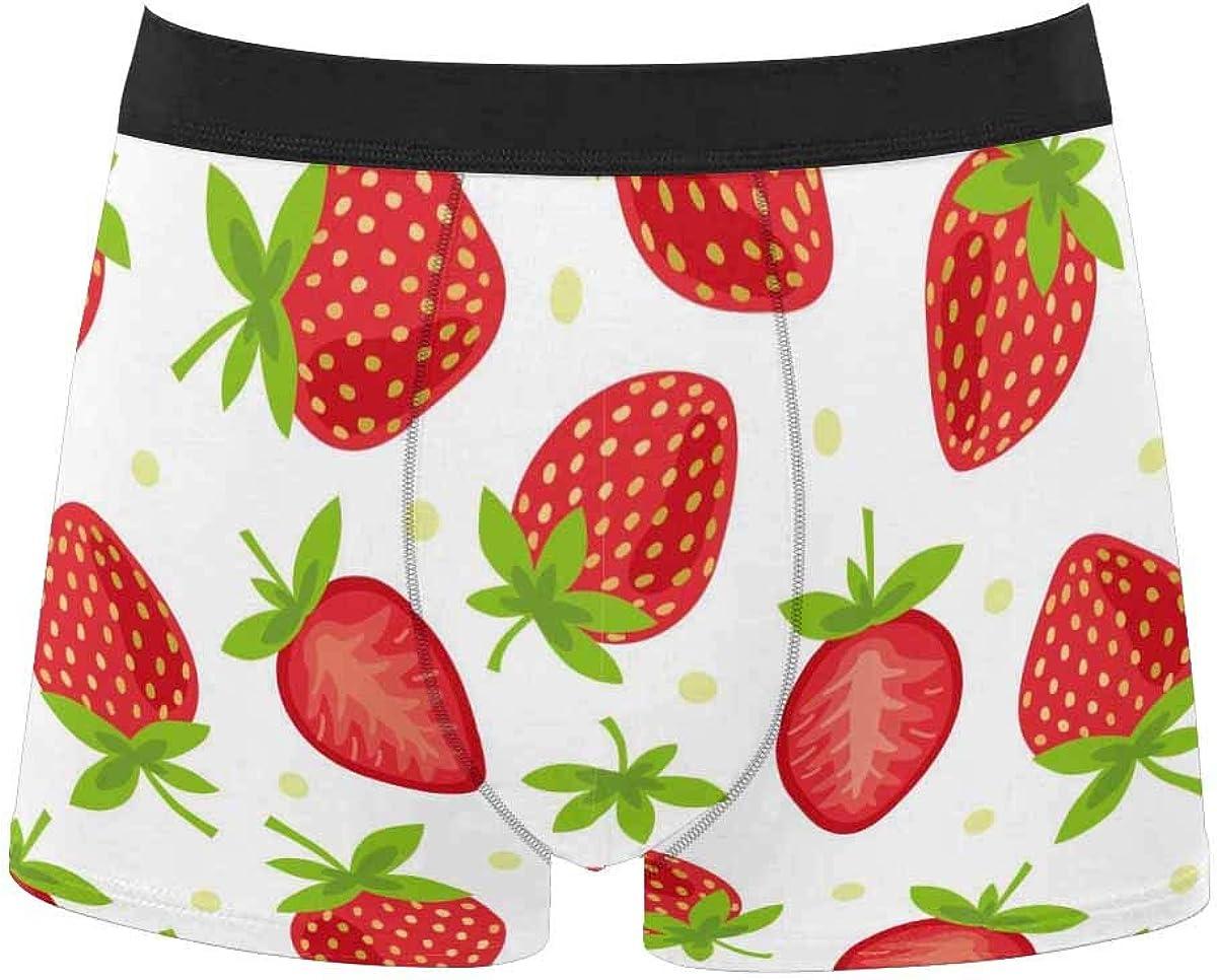 InterestPrint Youth Boy's All Over Print Comfort Boxer Briefs Underwear Strawberry on White Background 5XL