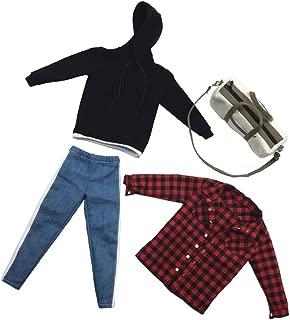Flameer 1:6 Scale Mens Body Pants Hoodie Bag for DML DID 12inch Figure DIY Accessories