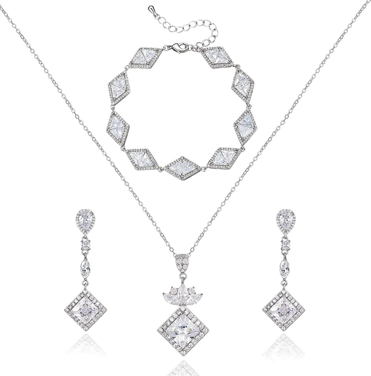 SWEETV Wedding Jewelry Sets for Brides, Teardrop Cubic Zirconia Necklace Dangle Earrings Bracelet Set for Women, Jewelry Set Gift for Wedding Party Prom Anniversary