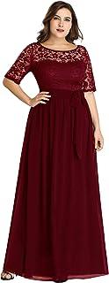 A-línea Encaje Talla Grande Vestido de Fiesta Cuello Redondo Largo para Mujer EZ07624