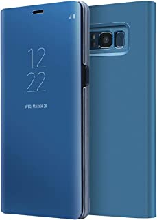 Samsung Galaxy Note 8 Mirror Flip Case Clear View Stand Back cover shockproof Pouch Blue