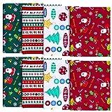 8 Stück Baumwollstoff mit Weihnachtsmotiv, mehrfarbig,