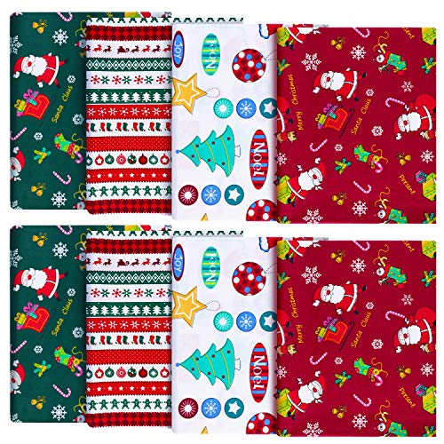8 Pieces Christmas Theme Cotton Fabric Multi-Color Fabric Patchwork Christmas Tree Fat Quarters Christmas Quilting Fabric Bundles for DIY Crafts Making Home Party Decoration (45 x 55 cm/ 18 x 22 Inch)