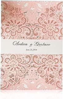 JOFANZA Pink Wedding Invitations Cards Laser Cut Floral Design Printable Invitaion Sleeve Pocket for Engagement Quincenera Birhtday (50 Pieces)
