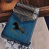 Dedo del piano 17 Teclas De Piano Bull Kalimba Pulgar Cuerpo De Caoba Instrumento Musical Mejor Calidad Y Precio (Color : Blue Horse)