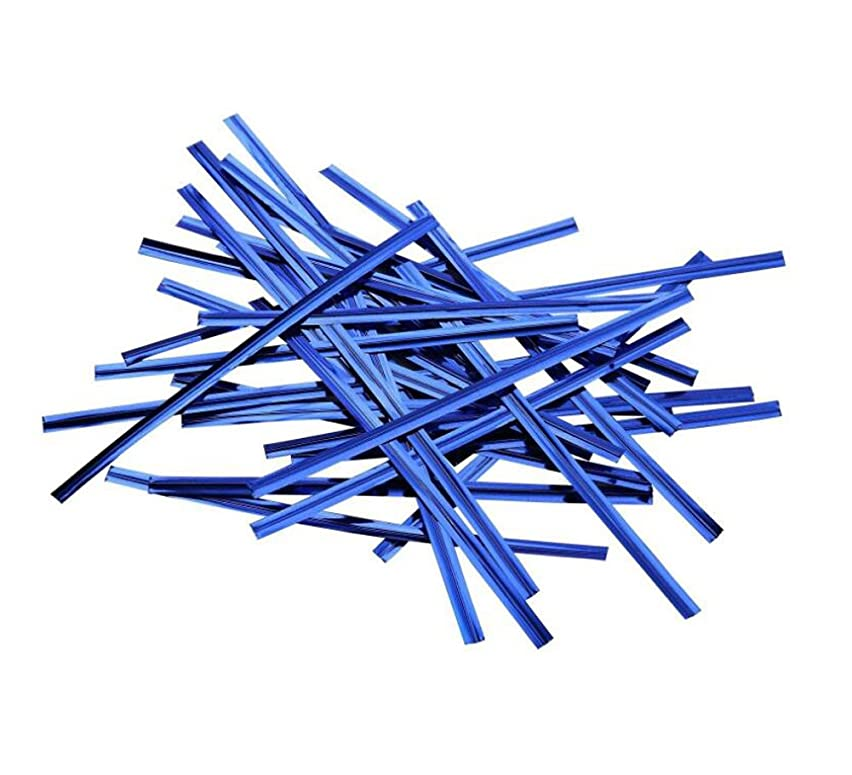 800PCS 10cm Length Metallic Twist Ties-Craft Cellophane Bags Treat Bags Christmas Cookie Bags Sealers for Wedding Cookie Gift Candy Buffet Supply (Blue)