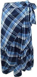Womens Plaid Ruffled Asymmetrical Skirt