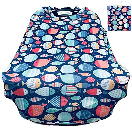 Baby car seat Canopy by Seedlings Haven (Green-Multi-Fish)