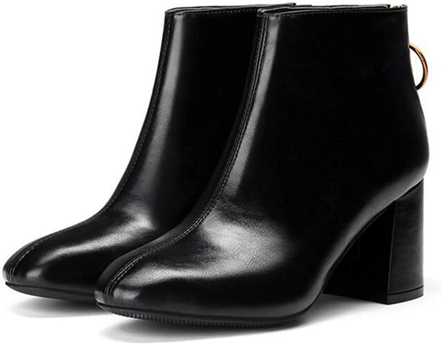 Meet- fashion Square Toe Women Boots Ankle Boots Metal Ring Zipper Thick high Heel Boots Ladies Party Ankle Boots