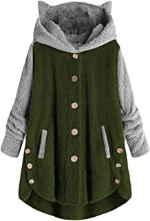 Macondoo Womens Button Down Warm Plush Cat Ear Hoodies Colorblock Fleece Coat Sweatshirts