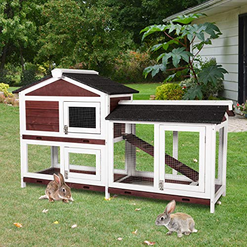 Kintness Rabbit Hutch Outdoor Wooden Pet Bunny House with Ladder and Outdoor Run for Small Animals