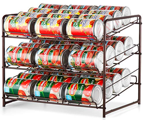 Auledio 3 Tier Can Rack, Stackable and Adjustable Multi-Function Cabinet Basket Organizer,Bronze