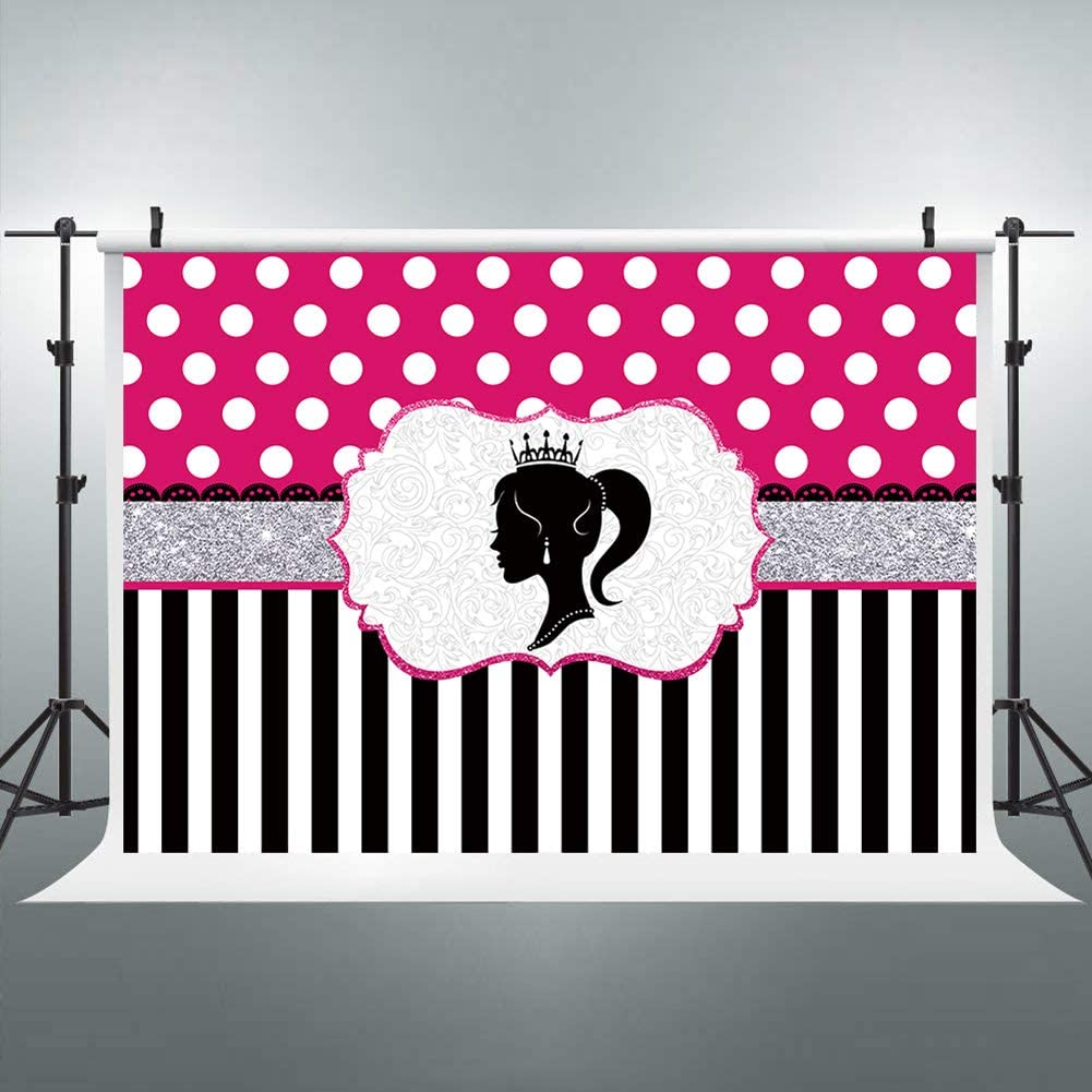 Riyidecor Barbie Party Backdrop Black and White Stripe Polka Dot Photography Background Glamour Girl Lady Birthday Party Banner Cake Table Decoration 7Wx5H Feet Decor Props Photo Shoot Vinyl Cloth