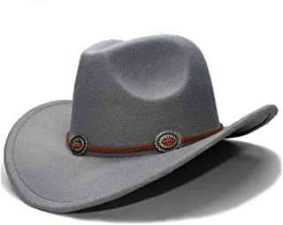 JAUROUXIYUJIN New 2019 Women Men Wool Hollow Western Cowboy Hat Roll-up Wide Brim Cowgirl Jazz Equestrian Sombrero Cap (Color : Gray, Size : 56-58CM)