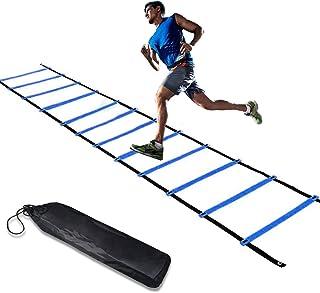 KILIVE - Escalera de agilidad, escalera de coordinación para entrenamiento de fútbol, escalera de entrenamiento de 6 m, escalera de entrenamiento de fútbol de agilidad, escalera de entrenamiento de coordinación con bolsillo, color azul y amarillo
