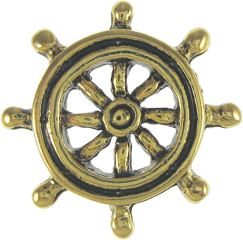 Jim Clift Design Ship's Wheel Gold Lapel Pin